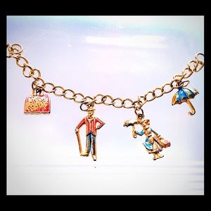 Vintage 1964 Mary Poppins charm bracelet gold tone